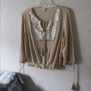 Lucky Brand | Beige Long Sleeve Top